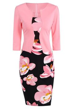 $19.34 Floral Jacket Look Pencil Dress - Pink