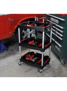 The Mechanics Three-Shelf Cart will prevent clutter and consolidate your tools. Each shelf features two dividers for easily separating items while two cup-holders on each shelf can hold a drink or bottles for cleaning or maintenance.