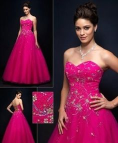 Lovely Strapless Hot Pink Embroidered Tulle 2011 Prom Dress Evening Quinceanera Ball Gown $152.00 Ball Gown Dresses | Big Fashion Show 2011 prom dresses