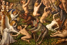 In this post I discuss the Last judgment of Stefan Lochner. Lochner's picture is populated with demons devils and the infernal city. There is movement, warring between angels and demons and a sense of a great mass of humanity. Satan, A Place Called Heaven, Chats Image, The Last Judgment, Early Middle Ages, Scary Monsters, Above The Clouds, Historical Art, Old Paintings