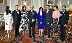 Royal Family of Sweden at a lunch with Crown Prince and Princess of Denmark