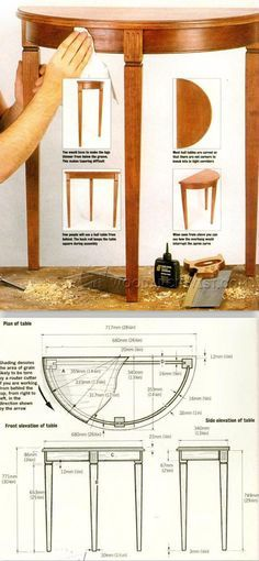Half Moon Hall Table Plans - Furniture Plans and Projects - Woodwork, Woodworking, Woodworking Plans, Woodworking Projects Woodworking Furniture Plans, Woodworking Projects For Kids, Woodworking Patterns, Woodworking Workshop, Diy Wood Projects, Diy Woodworking, Furniture Projects, Diy Furniture, Coffee Table Plans
