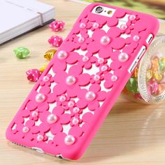 i6 Plus Cute Pearl 3D Flower Protective Phone Case For iPhone 6 Plus Ultra Thin Pierced Style Cover For iPhone 6 5.5 Pink Black - free shipping worldwide