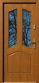 Klasyczne drewniane drzwi zewnętrzne model 501s2 w kolorze złoty dąb