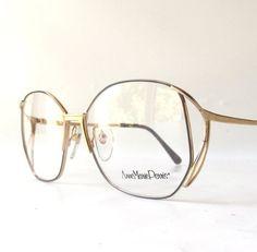 4f5af835fe1 vintage 1970 s NOS eyeglasses anne marie perris matte shiny gold metal frames  round womens modern eye