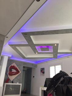Plafond placo design relief + led