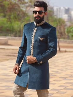 Shop Rama green raw silk indo western online from India. Mens Traditional Wear, Traditional Fashion, Indian Groom Wear, Indian Wear, Indian Men Fashion, Mens Fashion, Mens Ethnic Wear, Mens Sherwani, Achkan