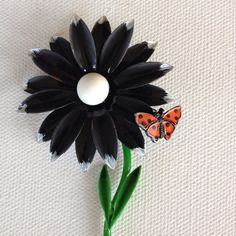 Black and white vintage enamel flower pin by KarelianStAntiques, $14.00