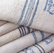 Blue Striped Vintage Linen Grain Sacks  Parna, UK