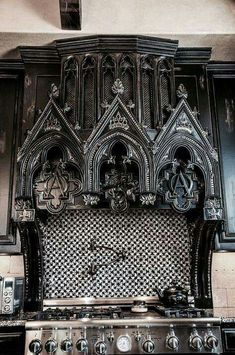 Amazing Gothic Black Kitchen Interior Design Ideas What's Decoration? Decoration may be the art of decorating … Gothic Interior, Modern Interior, Gothic Furniture, Bedroom Furniture, Diy Furniture, Furniture Movers, Furniture Companies, Vintage Furniture, Goth Home Decor