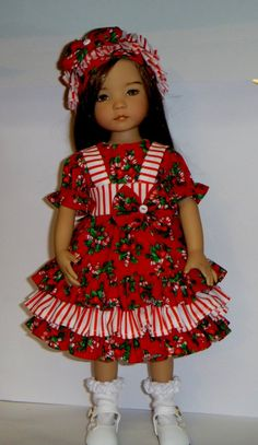 Featuring a Christmas Theme Pinafore or Jumper, blouse white ruffle socks with headband for your Dianna Effner 13 inch little darling doll