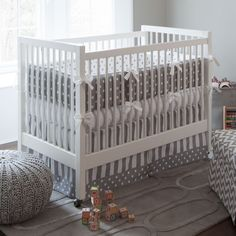 FAVORITE ****Neutral Crib Bedding, Girl Baby Crib Bedding, Boy Baby Bedding: Gray and White Dots and Stripes Crib Bedding - Fabric Swatches Only