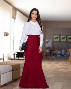 Pin by digna lainez on faldas Classic Fashion Looks, Modest Fashion, Fashion Dresses, Flare Dress, Dress Up, Workwear Fashion, Blouse And Skirt, African Dress, Skirt Outfits