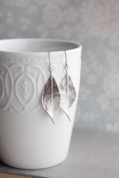 Long Silver Leaf Earrings Woodland Jewellery Nature Inspired Modern Leaves Dangle Womens Jewelry Gift For Her Under Gift For Mom, Sister Leaf Earrings, Silver Earrings, Nature Inspired Wedding, Lotus Necklace, Fashion Jewelry, Women Jewelry, Jewelry Gifts, Jewellery, Bridal