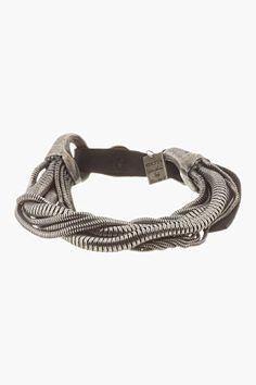 Goti Silver Multi-chain Leather-belted Bracelet for men | SSENSE - $950