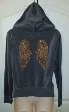 Check out our other items, at Every2nsCounts Store!  Victoria's Secret Angel Wings Sequins Hoodie Gray Zipper Supermodel Size Small #VictoriasSecret #Hoodie