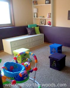 Amazing basement transformation into the cutest and most colorful playroom! I love all the DIY projects in this article.