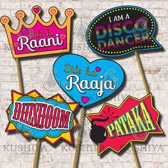 Bollywood Party Photo Booth Props Set of 10 Indian Style Wedding Photo Booth Props, Diy Photo Booth, Party Props, Party Signs, Party Themes, Photo Booths, Ideas Party, Themed Parties, Bollywood Theme Party
