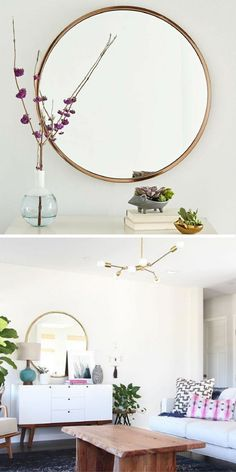 Soft, rounded edges and a minimalist design make the this round wall mirror an easy fit with furniture of any shape or style. Hang it over a bathroom sink or next to a coat rack in the entryway. | Round Mirror | Wall Art | Ad #homedecor