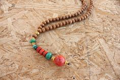 Beaded Necklace, Wood Bead Necklace, Red Coral Pendant, Unisex Gift,  #Handmade #Beaded