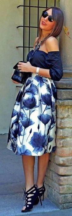 Navy Off The Shoulder Top + Printed Satin Midi Skirt