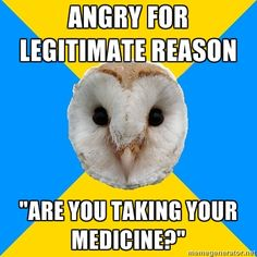 Bipolar Owl on getting scolded for justifiable anger. This one makes me CRAZY. It frustrates me so much. Sometimes, getting angry has nothing to do with bipolar. It has to do with something that anyone would be angry with. I'm still a human and I'm capable of feeling normal emotions.