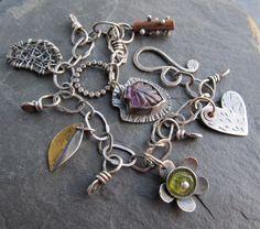 Silver Charm BRACELET Wire Wrapped Gemstone Green Purple by artdi