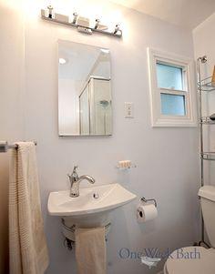 Upward lighting in a traditional style bathroom. #OneWeekBath #Bathroom #Remodel