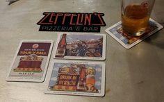 Zeppelin's great pizza & brew in Biloxi, MS Coaster Art, Great Pizza, Beer Label, Zeppelin, Brewing, Barware, Ms, Coasters, Drinks