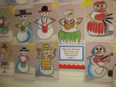 """Musicians of the Night"". Picasso inspired, pastel shading , snowman study, gr. 5"
