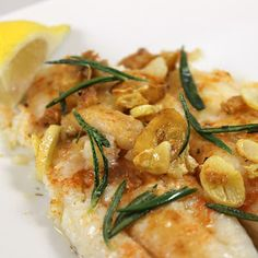 Pan-Seared Flounder with Fried Rosemary & Garlic- Quick and very easy ...