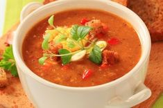 Sweet Potato and Roasted Red Pepper Soup Recipe on Roasted Red Pepper Soup, Roasted Red Peppers, Spicy Recipes, Soup Recipes, Health Recipes, Hungarian Recipes, Hungarian Food, How To Peel Tomatoes, Food 101