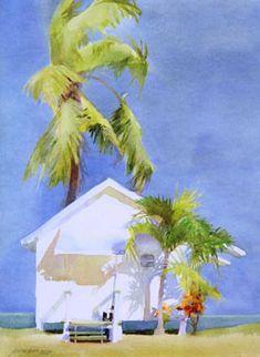 Jeanne Dobie - VIP cottage, watercolor on paper Watercolor Artists, Watercolor Techniques, Watercolor Landscape, Landscape Paintings, Watercolor Paintings, Art And Illustration, Palmiers, Tropical Art, Beach Art