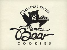 I bet that if bears could cook and keep away of their fascination with salmon they would make awesome cookies. Self Branding, Logo Branding, Dessert Logo, Photoshop Logo, Logo Cookies, Coffee Logo, Momma Bear, Bakery Logo, Bear Logo
