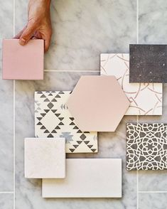 Against a backdrop of our stunning Brookhaven marble are featured a series of our breath-taking tiles. Campinola Pretty Pink is being… Mood Board Interior, Material Board, Wall And Floor Tiles, Wall Tiles, Colour Board, Tile Design, Door Design, Colour Schemes, Pretty In Pink