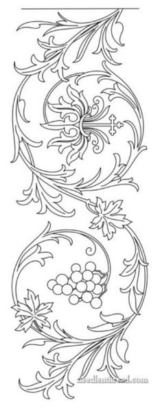 Free Hand Embroidery Pattern: Grapes, Acanthus, Passion Flower Border – pick up the PDF on www. Embroidery Designs, Hand Embroidery Patterns, Ribbon Embroidery, Quilting Designs, Cross Stitch Embroidery, Machine Embroidery, Embroidery Boutique, Border Embroidery, Tattoo Patterns