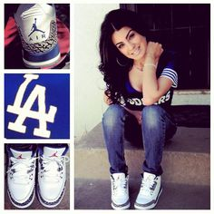Perfect ballgame outfit. Jordans cute except I'd have to rep SF Giants love the white with blue