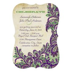 DealsPurple and Green Vintage Peacock Paisley Wedding Custom Invitestoday price drop and special promotion. Get The best buy