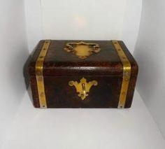 Beautiful Leather & Brass Antique Jewellery Box