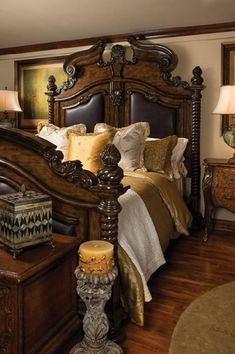 I love the dark heavy bedroom furniture.