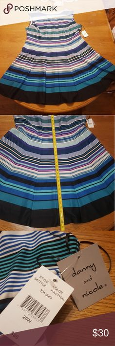 NWT Danny & Nicole Striped Dress Blue Purple NWT bright striped dress from Danny & Nicole.  Several different colors including purple, black, white, many blues. Woman's Plus size 20w. Smoke free home. Offers and bundles welcome! Danny & Nicole Dresses