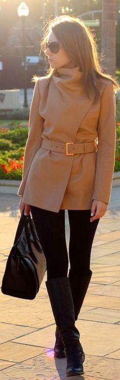 Short camel coat.