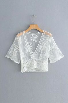 V Neck Lace See Though Crop Top – Chiclotte Fashion Terms, Fashion 2020, Kurta Designs Women, Blouse Designs, Stylish Street Style, Sleeves Designs For Dresses, White Short Sleeve Tops, Oufits Casual, Indian Designer Outfits