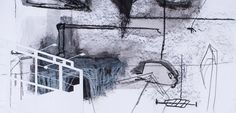 Ananda Kuhn - Vazios Urbanos (5) - Acrílica, nanquim, grafite, pastel oleoso e colagem sobre papel - 32 x 66 cm - 2010