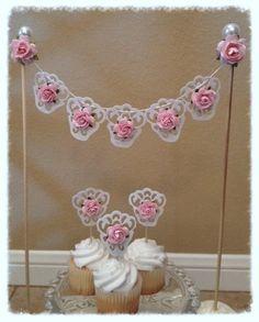 Birthday Decoration Shabby Chic Cake Bunting  and Cupcake