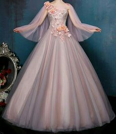 Cute Prom Dresses, Prom Dresses Long With Sleeves, Elegant Dresses, Blush Prom Dress, Elegant Ball Gowns, Royal Dresses, Quince Dresses, Ball Gown Dresses, Fairytale Dress