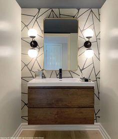 Bathroom Design Small, Bath Design, Bathroom Interior Design, Modern Bathroom, Bathroom Wallpaper Modern, Best Bathroom Designs, Contemporary Bathrooms, Powder Room Design, Powder Room Decor