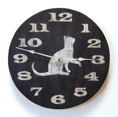 Rustic Reclaimed Wood Cat Clock 10.5 Dia by BartWerks on Etsy, $48.00