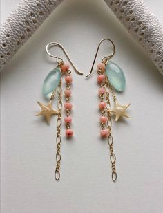 Real Starfish Dangle Earrings Peach Aqua by BellaAnelaJewelry