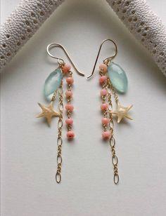 Real Starfish Dangle Earrings Peach Aqua by BellaAnelaJewelry